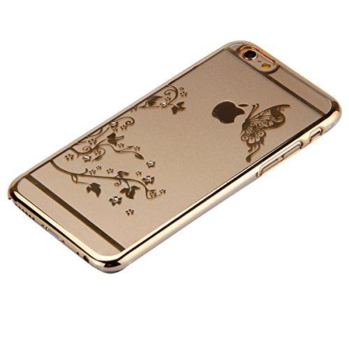 Cover iPhone 6S,Cover iPhone 6, ikasus® iPhone 6S / 6 Case Custodia Cover [Cristallo Trasparente] Protettiva trasparente con motivo floreale farfalla che scorre copertura dura di plastica trasparente  farfalla:doro