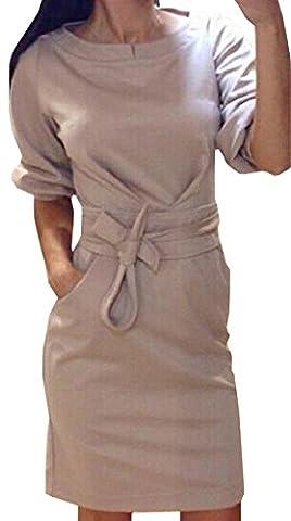 Damen Wickelkleider 3/4-Arm Rundkragens Mini Kleider Cocktaikleid Partykleid Abendkleid Normallacks Tunikakleid Ballkleid Schrittrock Sommerkleid Bleistiftrock (EU38(L),