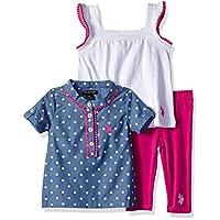 U.S. Polo Assn. Baby Girl's Sport Shirt, Knit Top and Legging Set Pants, polka dots on chambray white, 24M