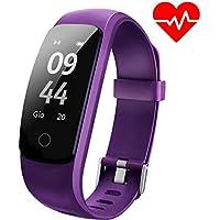 Pulsera Actividad Aneken Pulsera Inteligente Smart Bracelet Tracker con Monitor de Ritmo Cardíaco Activity Tracker Bluetooth Podómetro con Sleep Monitor Smart Watch para iPhone y Android Smartphones (purple)