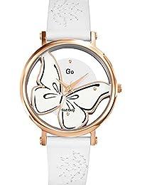Go Girl Only–698665Damen-Armbanduhr 045J699Analog silber–Armband Leder Weiß