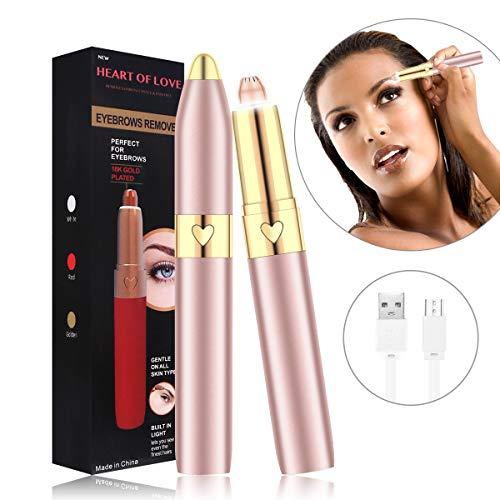 Epilateur Sourcil, Mini Eyebrow Epilator Trimmer Électrique de Recharge USB avec Lumière LED pour Femmes Duvet du Visage,Sourcils,Poils à Lèvres
