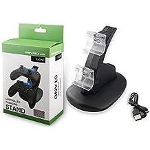 Skins4u - Estación de carga para mandos/soporte horizontal USB doble para 2 mandos/cargador con iluminación led de color azul/cable USB/dispositivo de carga doble para 2 mandos (PS4, PS3, Xbox One), Xbox One LED Ladestation