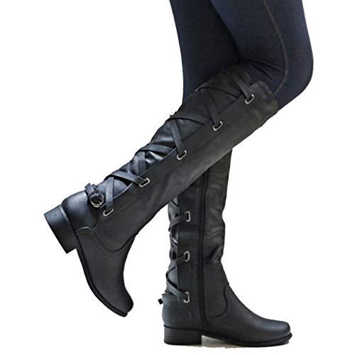 MWYunZhen Die Frauen-Knie-hohe lederner Langer Stiefel Größere Größe Lace-Up-Seiten-Reißverschluss Reitstiefel beiläufiger Chunky Heel hohe Stiefel-Damen Schuhe,Schwarz,41 -