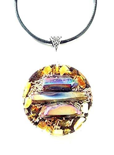 collare con colgante Orgone Aqua Pendant Aura Titanio, Ámbar, protección emf, energía, Talismán