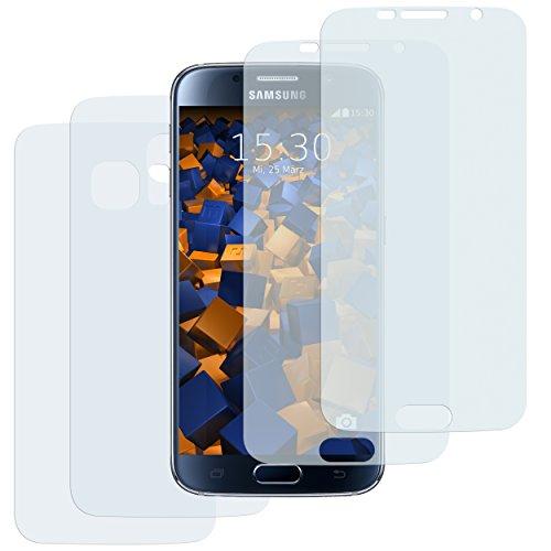 4x mumbi Schutzfolie für Samsung Galaxy S6 / S6 Duos Folie - 2 x VORNE und 2 x RÜCK Folie - (bewusst kleiner als das Display, da dieses gewölbt ist) -