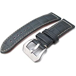 24mm CrocoCalf (Croco Grain) Light Grey Watch Strap with Beige Stitches