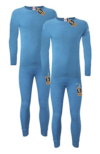 Heatwave® Pack Of 2 Men's Extreme Thermal Underwear Set, Long Sleeve Top & Long Johns Set, Winter Thermals, XX Large Blue