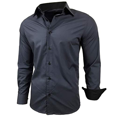 Kontrast Business Anzug Freizeit Polo Slim Fit Figurbetont Hemd Langarmhemd R-44, Farbe:Anthrazit;Größe:4XL