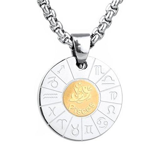COPAUL Schmuck Edelstahl Tierkreis Sternzeichen Fische Anhänger Kette Halskette für Herren Damen, Gold Silber (Fisch-anhänger)