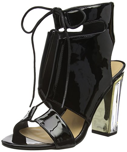 Boohoo Paige Clear Heel Lace Up Shoe Boot, Sandales femme Black (Black Patent)