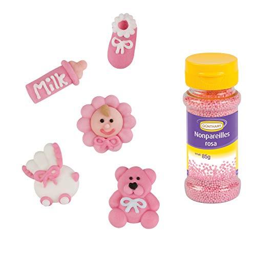 Günthart 16 Zuckerfiguren für ROSA Taufe & Baby Shower MIT ROSA Streudekor