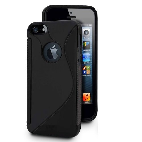KGC DOO Pellicola + Custodia TPU WAVE NERA per Apple iPhone 4 4G 4S - Custodia COVER CASE per Apple iPhone 4 G S - Cover + Pellicola Protettiva Schermo