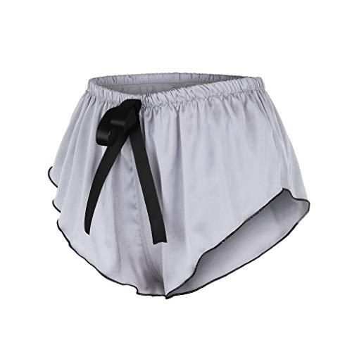 BBring 2020 Neu Einfarbig Satin Tanga M Grau 489155 (Bikini Bottom up Bikinislip G-String V-String Höschen Hipster ReizwäSche Unterhosen Panties Sportunterwäsche Bodywear) - 3