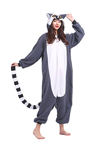 Magicmode Unisex Cartoon Tier Pyjamas Cosplay Kostüm Adult Hooded Kigurumi Strampelanzug Party Anime Nachtwäsche Lemuren XL