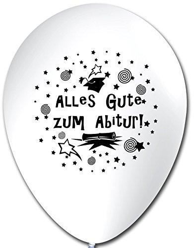 Unbekannt 10 Luftballons Alles Gute zum Abitur, WEIß, ca. 30 cm