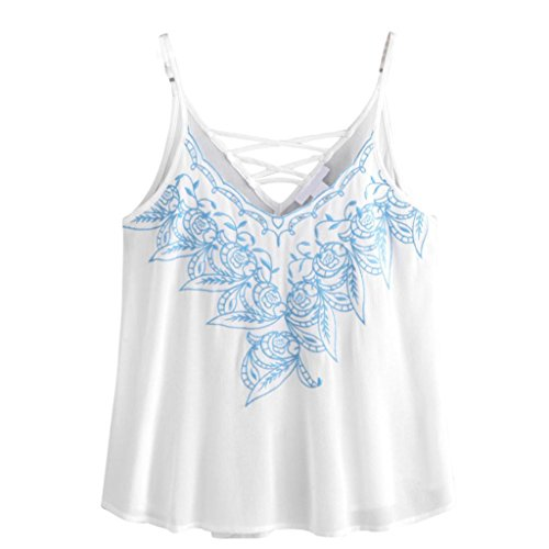 OverDose Trägershirts Flower Bestickte Strappy Cami Top Bluse tops Vest Weste Pulli (S, A-Weiß3) (Alpaka Pullover Damen Tunika)