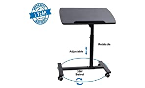 Callas Portable Height Adjustable 360° Swivel Laptop Notebook Desk Table Stand Holder Home Office PC Computer Mobile Laptop w/Wheels, Black, CA-02-1