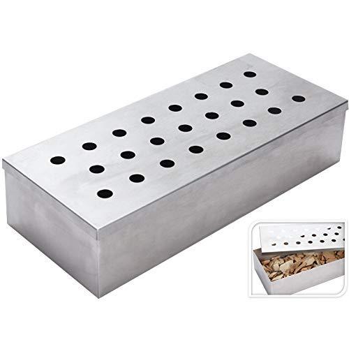 Vaggan Rectangular Kitchen Barbecue BBQ Stainless Steel Metal Smoking Smoke Smoker Box Without Wood Chip