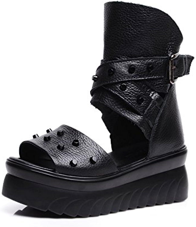 KHSKX-Negro 7.5 Cm Zapatos Tacones Sandalias De Fondo Plano Mujeres Gruesas De Fondo De Pino Zapatos De La Torta...