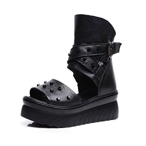 Schuhe Fersen Fersen Flache Boden Sandalen Weibliche Dicke Untere Kiefer Kuchen Schuhe Sommer Leder Fisch Mund Coole Stiefel.36 (Han Solo Stiefel)