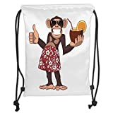 LULUZXOA Gym Bag Printed Drawstring Sack Backpacks Bags,Cartoon,Happy Chimpanzee Holding a Cocktail and Smiling Piggle Ape Cheerful Comic Art,Brown and Ruby Soft Satin