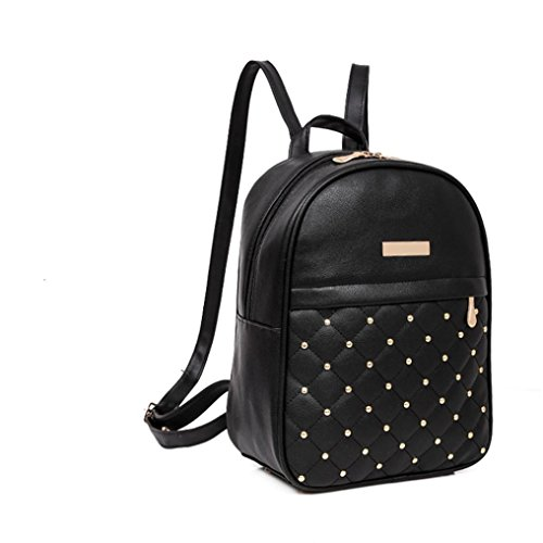 Femmina Borsa Spalla, Donne Rivetto Zaino Moda Causale Borse Perline Femmina Spalla Borsa by Kangrunmy Nero