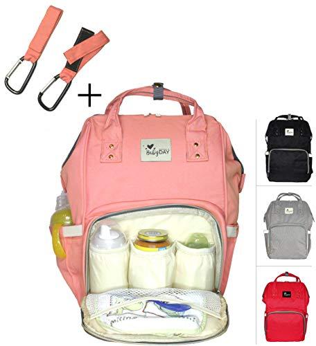 Preisvergleich Produktbild XL Baby Wickel-Rucksack :: Tasche groß inkl. 2 Haken :: Wickeltasche für Reise, Besuche, Ausflüge oder Unterwegs :: 24 Liter Volumen :: Lässige Windel-Tasche :: Umhänge-Baby-Tasche ROSA