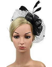 Yamyannie fascinator cerchietto mollette copricapo Cappello da donna  elegante da cocktail in pizzo con fiocco in 4669a160d2bd
