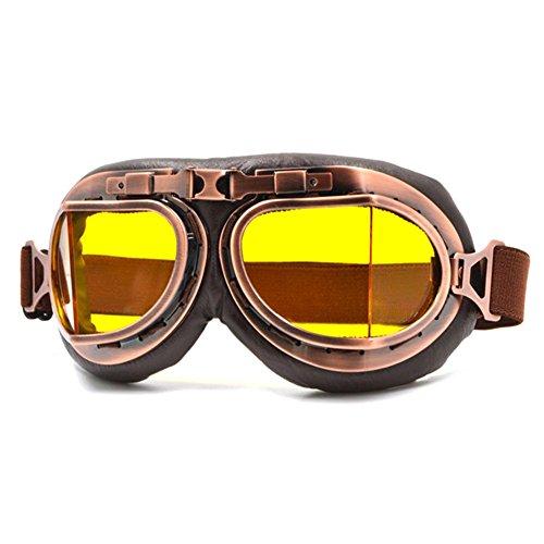 Rlorie Gafas de Moto,Retro Vintage Gafas de Protección Gafas Piloto Gafas de Aviador, Gafas para Motocross Marco,Steam Punk Vintage Gafas de Sol Gafas de protección para Outdoor Sport Moto