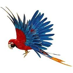 Gazechimp Artificielle Oiseau Plumes en Polyéthylène Perroquet pour Décoration Jardin Artisanat Micro-paysagère X-mas - #4 Bleu et Rouge, 40*15*6cm