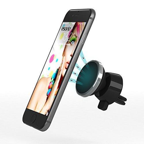 esorio - Handyhalter fürs Auto 【 original Magnet-Halterung 】 Lüftung KFZ Handy-Halterung Auto Universal für Apple iPhone Modelle, Samsung und jedes andere Smartphone oder GPS-Gerät - schwarz/Silber