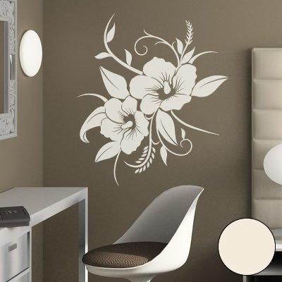 """Preisvergleich Produktbild A690 Wandtattoo """"Hibiskusblüte"""" 70cm x 58cm creme-weiss (erhältlich in 40 Farben und 4 Größen)"""