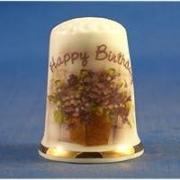 Birchcroft Porcelaine Chine à Collectionner Dé à Coudre –-Joyeux Anniversaire Floral