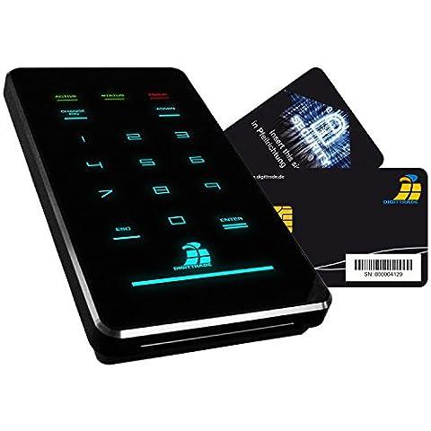 Digittrade HS256-S3 1TB SSD Externe Festplatte (6,35 cm (2,5 Zoll) USB 3.0) mit 256-Bit AES Hardware-Verschlüsselung, Smartcard und PIN schwarz