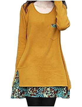 Nonbrand–Vestido de manga larga para mujer, ribete de gasa con diseño de flores, invierno