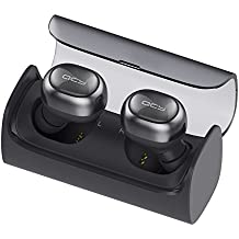 Inalámbrico Earbud, QCY Q29 Mini Dual V4.1 Bluetooth Headphones with Charging Case 12 Hours estéreo Music Time Built Mic for iPhone 7 Plus, Samsung, HTC, Motorola and most Android Smartphone (Space Gray)