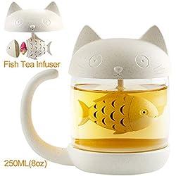 250ML Taza de té ,Taza de té de cristal con un filtro que forma de pez, lindo de taza de café es mejor regalo para cumpleaños (8oz)