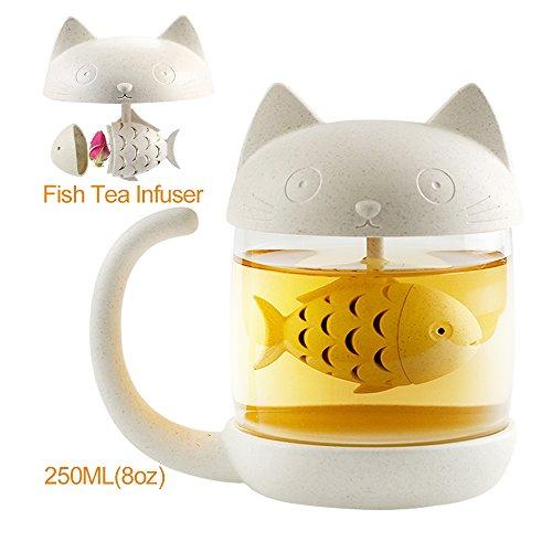 Katze Glas Cute Cat Tasse mit Teesieb Fisch Tee Infuser Sieb Filter nette Katze Kaffeebecher Schwanz Griff für Kinder 250 ml– für Büro und Zuhause Verwendung rose