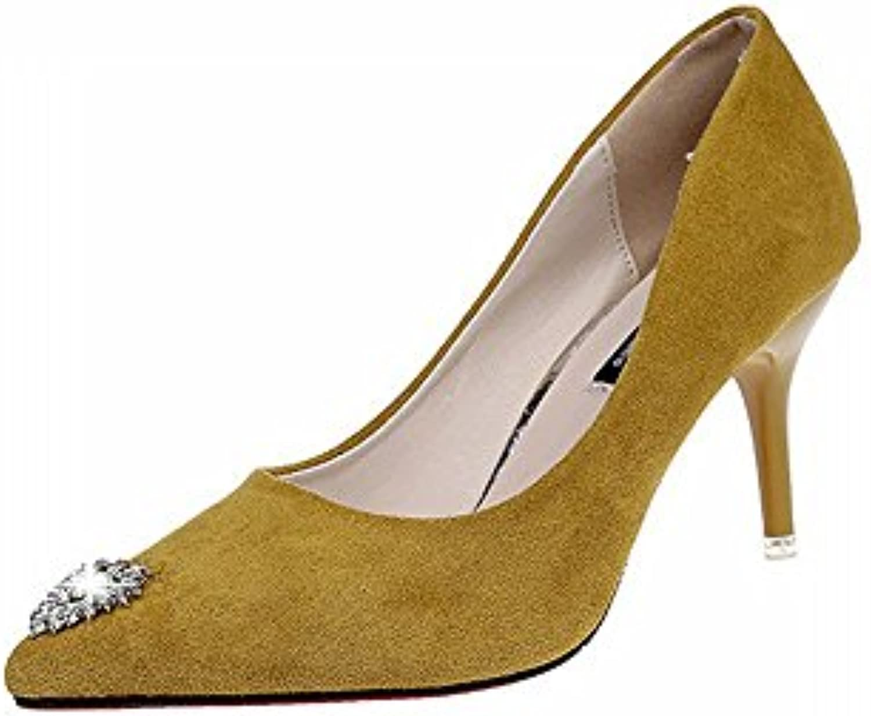 CXY Zapatos de Tacón Delgado Puntiagudo de Otoño Europeo Y Americano con Zapatos, Zapatos de Tacón Rojo de la...