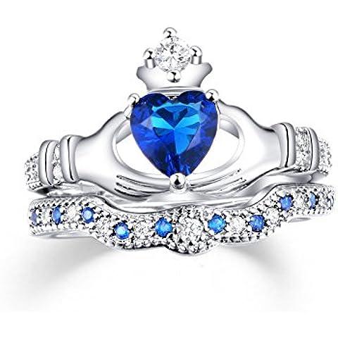 zealmer rodiada circonita CZ azul zafiro Corazón Novia Corona Claddagh Juego de Anillos