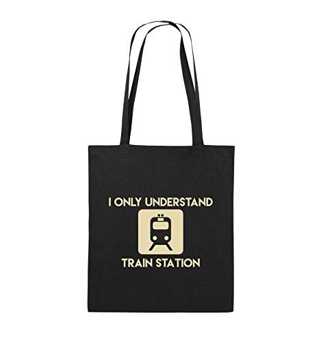 Comedy Bags - I ONLY UNDERSTAND TRAIN STATION - Jutebeutel - lange Henkel - 38x42cm - Farbe: Schwarz / Silber Schwarz / Beige
