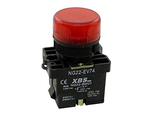 XBS rot 1W LED Leuchtmelder Pilot Signal Licht Lampe 22mm 230V NG22-EV74 1745