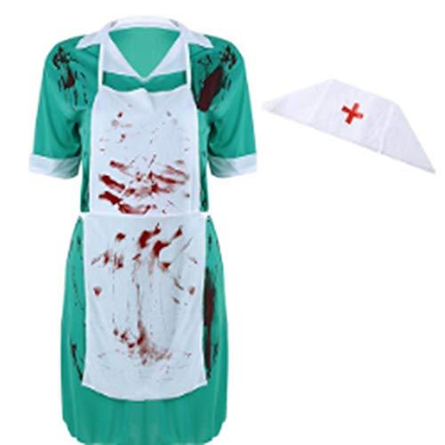 Goods Prom Halloween Kostüm SkeletonWomen Doktor Krankenschwester Uniform Zombie Horrible Bloody Cosplay Partei Karneval Scary Halloween Dress Suit, eine Größe ()