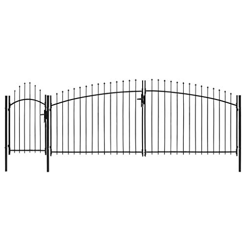 Festnight cancello da giardino ad arco in acciaio nero,cancello giardino acciaio 1,5x5 m/1,75x5 m