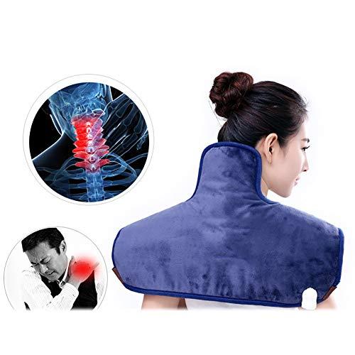 QIYU Heizkissen für Rücken Nacken Schulter, Elektisches Nackenheizkissen, Schulter-Heizkissen, Schmerzlinderung,Blau