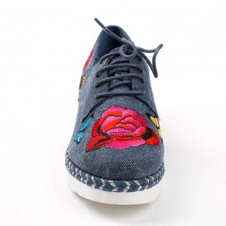Ideal Shoes - Derbies en toile effet pailletés avec broderies Daiana Marine