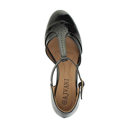 Damen Mitte Blockabsatz T-Riemen Ausgeschnitten Budapestern T-Spangen Pumps Sandalen Größe Schwarz Lack