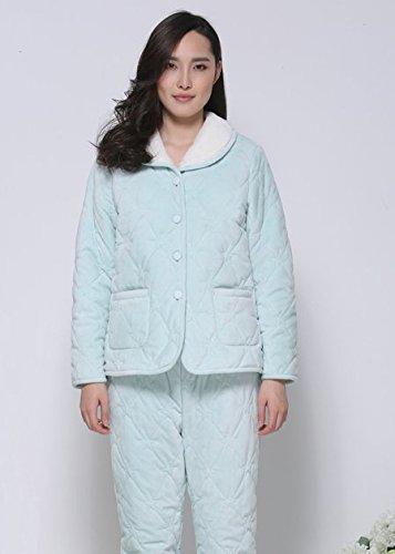 Épaississement de dossier coton pyjama corps féminin plus épais pyjamas chauds à manches longues Hedging hiver épaississement plus velours pyjama chaud pyjama en coton de couleur unie ( couleur : Rose Bleu
