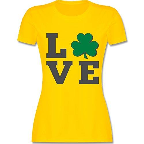 Shirtracer St. Patricks Day - Kleeblatt Love - Damen T-Shirt Rundhals Gelb